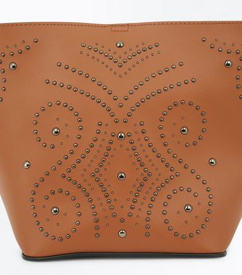 Tan Western Stud Bucket Bag New Look