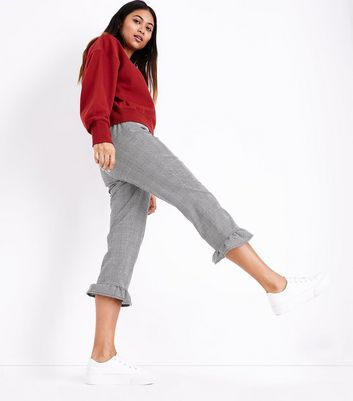 Petite Black Check Frill Hem Trousers New Look