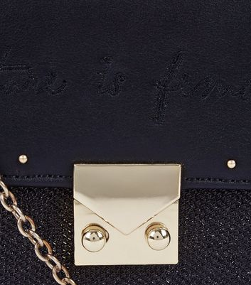 Black Female Embroidered Slogan Chain Shoulder Bag New Look