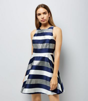 Blue Metallic Stripe Skater Dress New Look