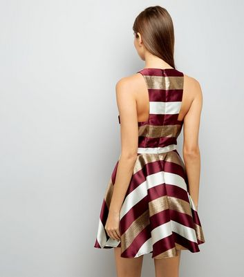 Red Metallic Stripe Skater Dress New Look