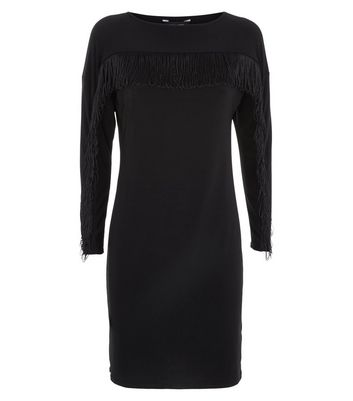 Black Fringe Front Bodycon Dress New Look