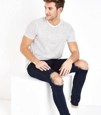 Navy Ripped Knee Skinny Jeans New Look