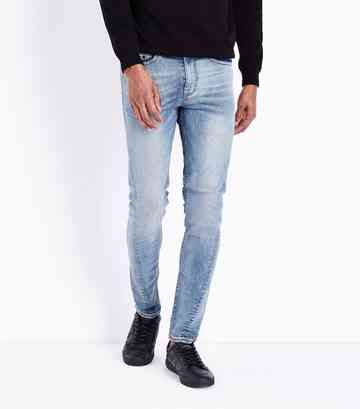 Blue Twisted Seam Skinny Stretch Jeans