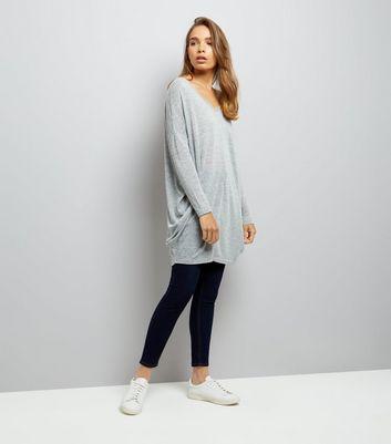 Grey Fine Knit Longline Bar Back Tunic New Look