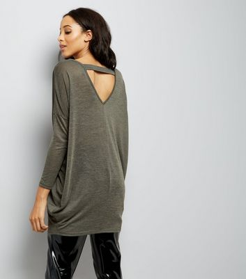 Khaki Fine Knit Longline Bar Back Tunic New Look