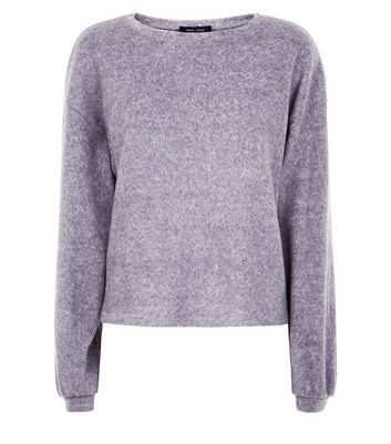 Grey Fine Knit Baloon Sleeve Jumper New Look