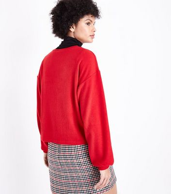 Red Fine Knit Balloon Sleeve Jumper New Look