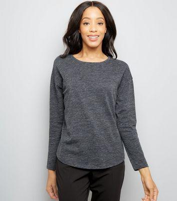 Dark Grey Textured Slouchy Long Sleeve T-Shirt