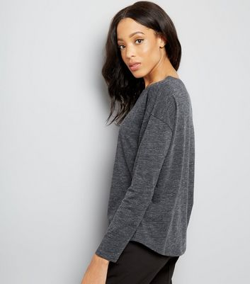 Grey Textured Slouchy Long Sleeve T-Shirt New Look