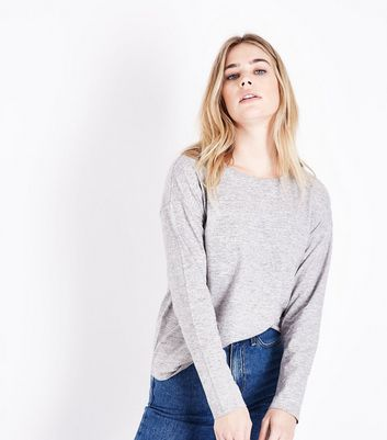 Grey Marl Slouchy Long Sleeve T-Shirt New Look