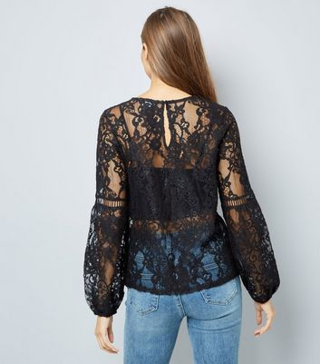 Black Floral Embellished Lace Ladder Trim Top New Look