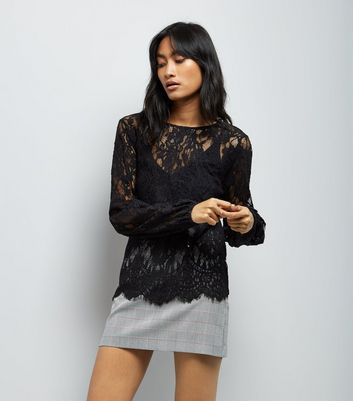 Black Lace Balloon Sleeve Top New Look