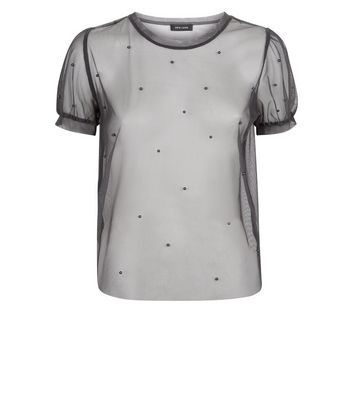Dark Grey Beaded Mesh Puff Sleeve Top New Look