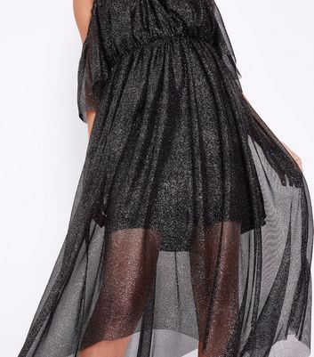 Black Premium Glitter Mesh Cold Shoulder Midi Dress New Look
