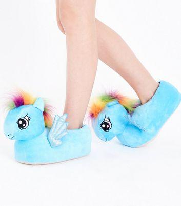 Teens Blue Rainbow Mane My Little Pony Slippers New Look