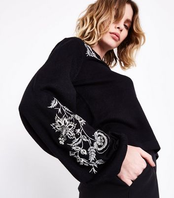 Black Embroidered Balloon Sleeve Jumper New Look