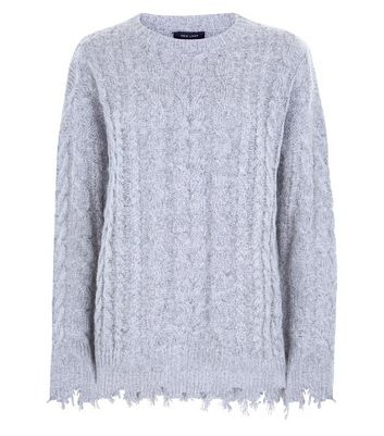 Pale Grey Distressed Cable Knit Jumper New Look