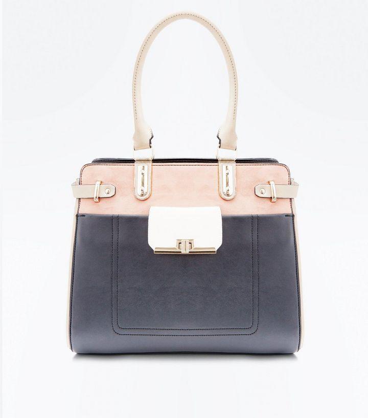 Black Colour Block Structured Tote Bag  8beac96b6c2af