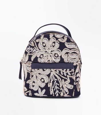 Black Floral Sequin Embellished Mini Backpack New Look