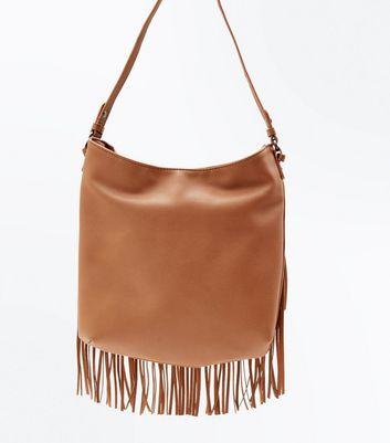 Tan Fringed Shoulder Bag New Look