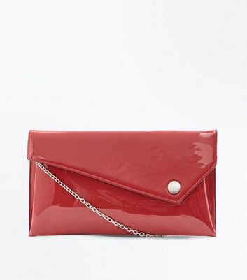 Red Patent Asymmetric Flap Clutch Bag New Look