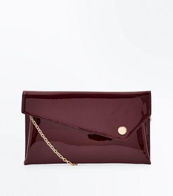 Burgundy Patent Asymmetric Flap Clutch Bag New Look