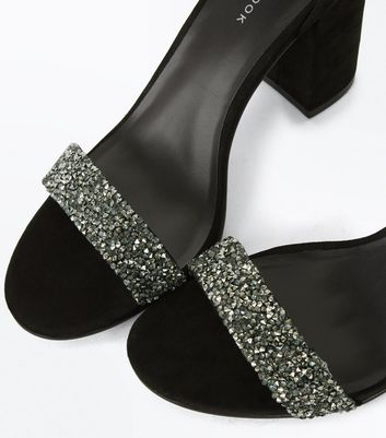 Black Suedette Embellished Strap Sandals New Look