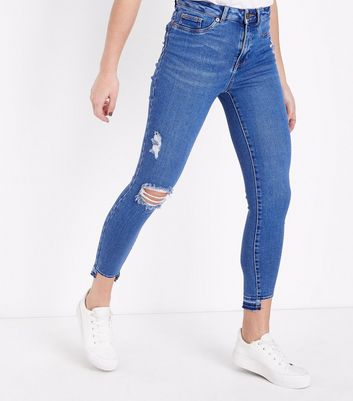 Bright Blue High Waist Step Hem Skinny Dahlia Jeans New Look