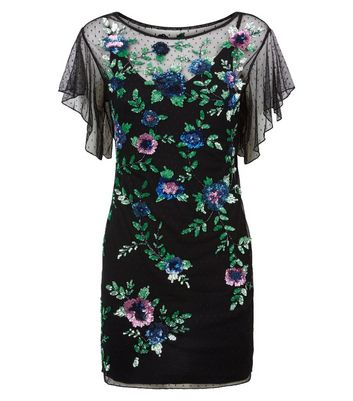 Black Premium Floral Sequin Embellished Dress New Look