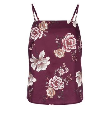 Tall Burgundy Floral Satin Tie Back Pyjama Cami New Look