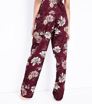 Tall Burgundy Velvet Trim Satin Pyjama Bottoms New Look