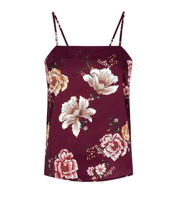 Petite Burgundy Floral Satin Cami Pyjama Top New Look