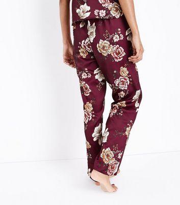 Petite Burgundy Floral Satin Cami Pyjama Bottoms New Look