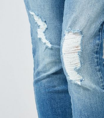 Teens Blue Distressed Hem Jeans New Look