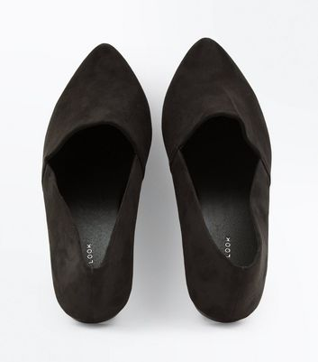 Black Suedette Pointed Pumps New Look