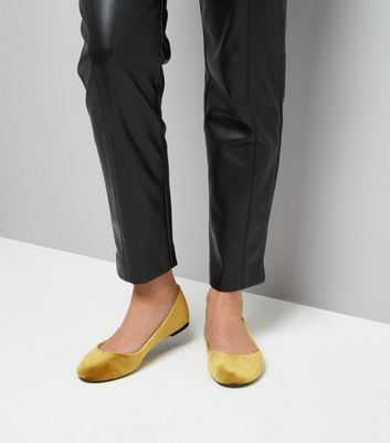 Yellow Velvet Ballet Pumps New Look