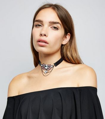 Black Embellished Centre Drape Choker New Look