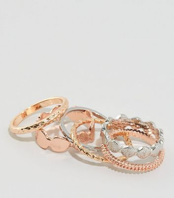 6 Pack Metallic Beaten Disc Stacking Rings