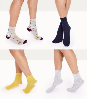 4 Pack Multi Coloured Floral Pattern Socks New Look