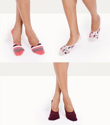 3 Pack Burgundy Floral Print Pop Socks New Look