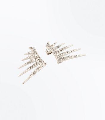 Silver Crystal Spike Earcuffs New Look