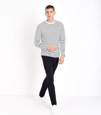 Black Stripe Long Sleeve T-Shirt New Look