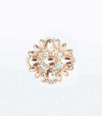 Shell Pink Oversized Gem Brooch New Look