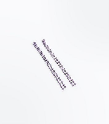 Purple Gem Stone Drop Earrings New Look