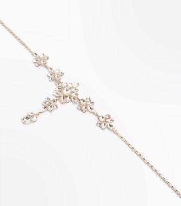 Gold Gem Embellished Flower Drop Necklace New Look