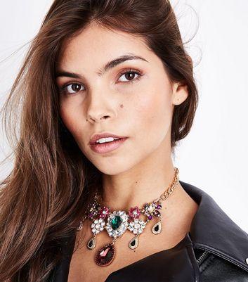 Gold Gem Embellished Drape Necklace New Look
