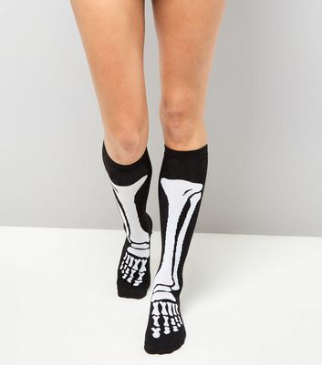 Black Skeleton Knee High Socks New Look