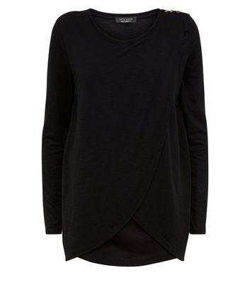 Black Wrap Front Long Sleeve Nursing T-Shirt New Look