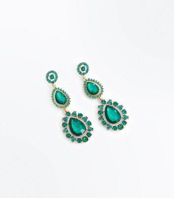 Green Gem Embellished Teardrop Earrings New Look